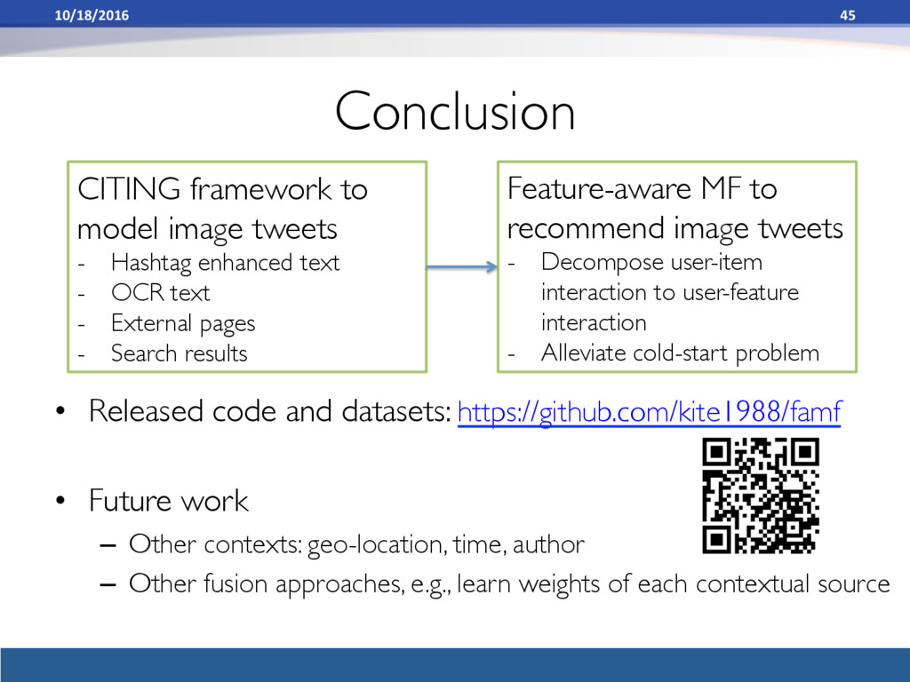 Conclusion • Released code and datasets: https...