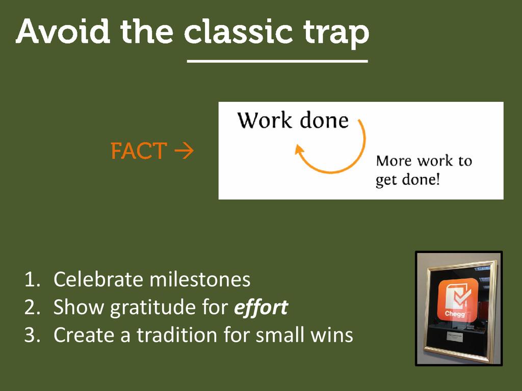 1. Celebrate milestones 2. Show gratitude for e...