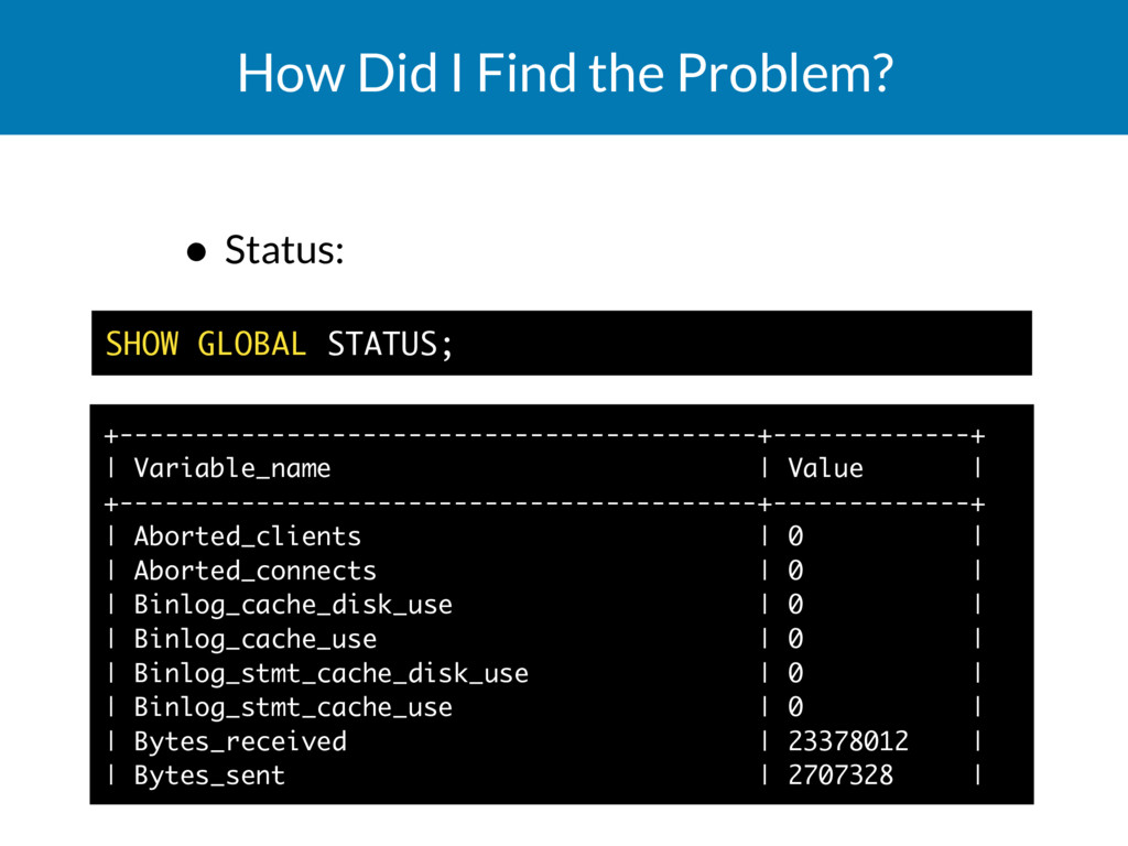 How Did I Find the Problem? • Status:     ...