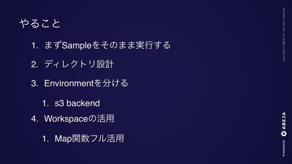 1. ·ͣSampleΛͦͷ··࣮ߦ͢Δ 2. σΟϨΫτϦઃܭ 3. Environment...