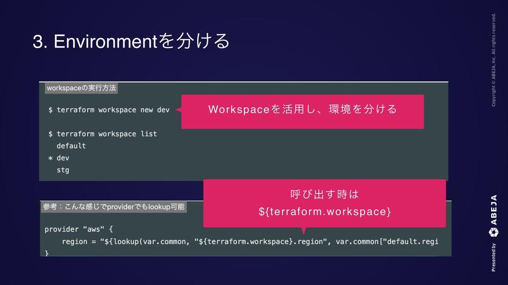3. EnvironmentΛ͚Δ WorkspaceΛ׆༻͠ɺڥΛ͚Δ ݺͼग़͢ ...