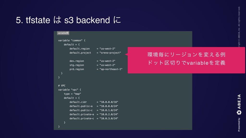 5. tfstate  s3 backend ʹ ڥຖʹϦʔδϣϯΛม͑Δྫ υοτ۠Γ...