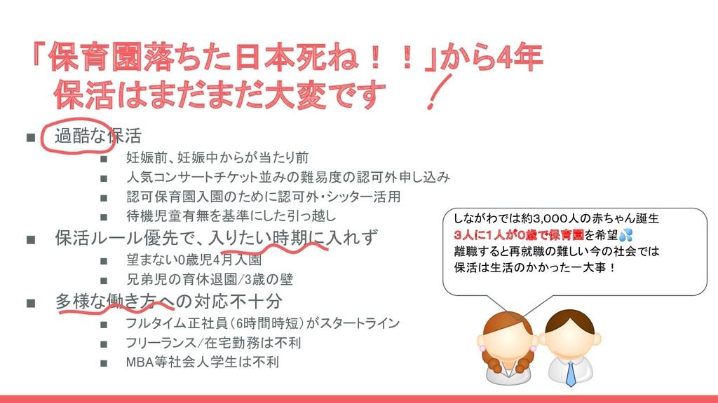 「保育園落ちた日本死ね!!」から4年  保活はまだまだ大変です  ■ 過酷な保活  ■...