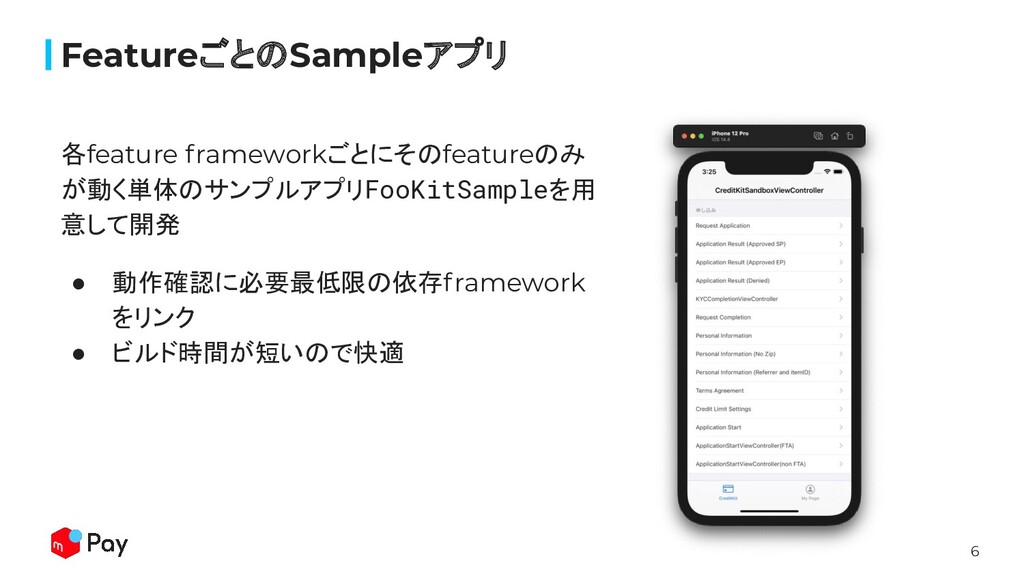 6 各feature frameworkごとにそのfeatureのみ が動く単体のサンプルアプ...