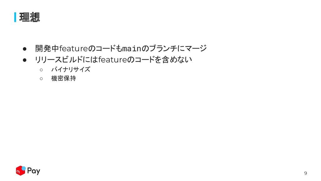 9 ● 開発中featureのコードもmainのブランチにマージ ● リリースビルドにはfea...