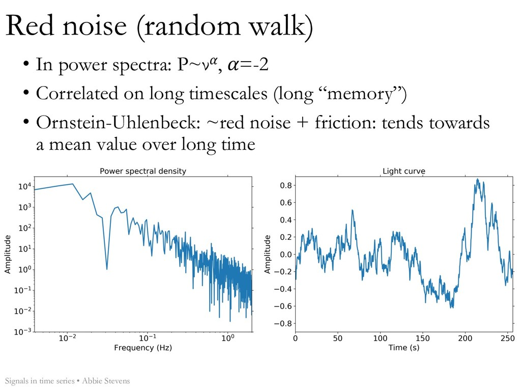 Red noise (random walk) Signals in time series ...