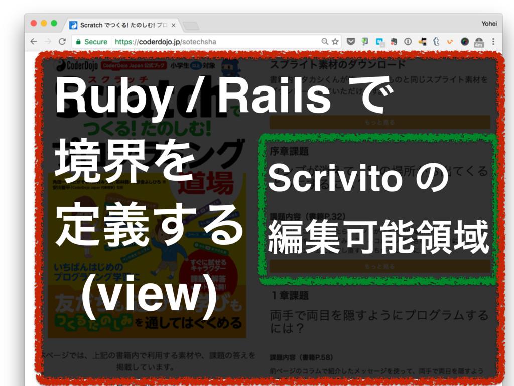 Ruby / Rails Ͱ ڥքΛ ఆٛ͢Δ (view) Scrivito ͷ ฤूՄྖҬ