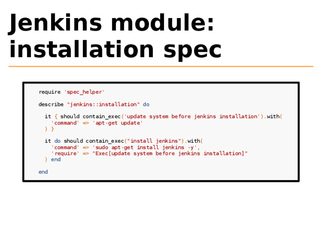 Jenkins module: installation spec require 'spec...