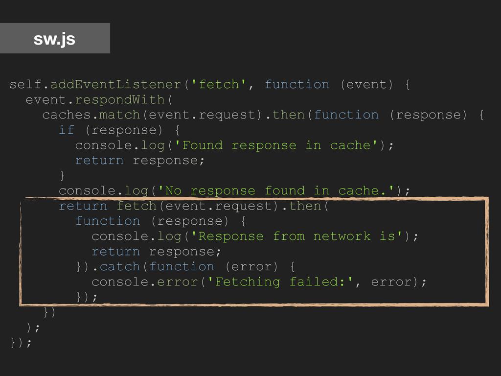 sw.js self.addEventListener('fetch', function (...