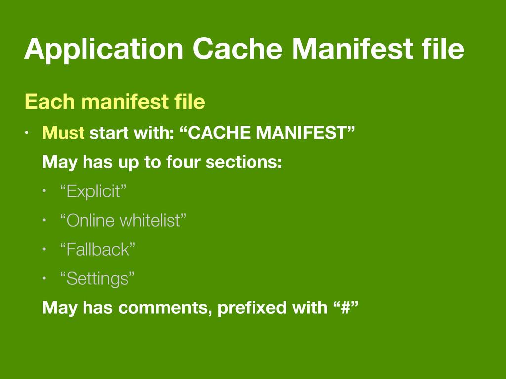 Application Cache Manifest file Each manifest fil...