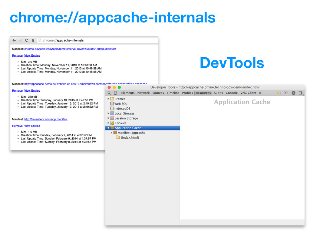 chrome://appcache-internals DevTools