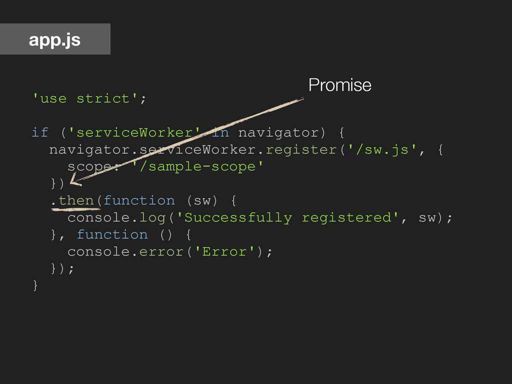 'use strict'; if ('serviceWorker' in navigator)...