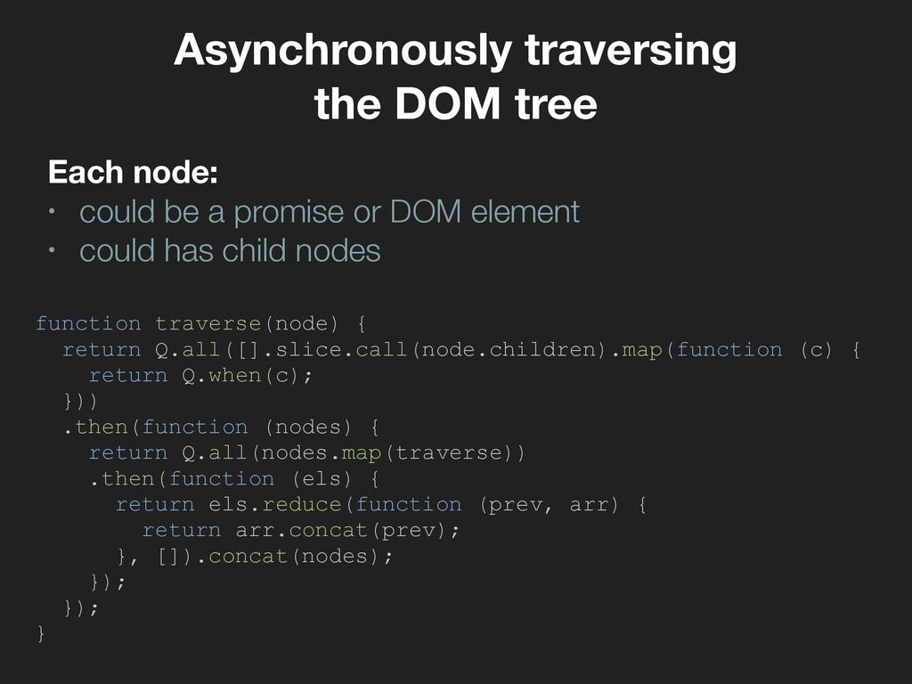 Asynchronously traversing the DOM tree Each nod...