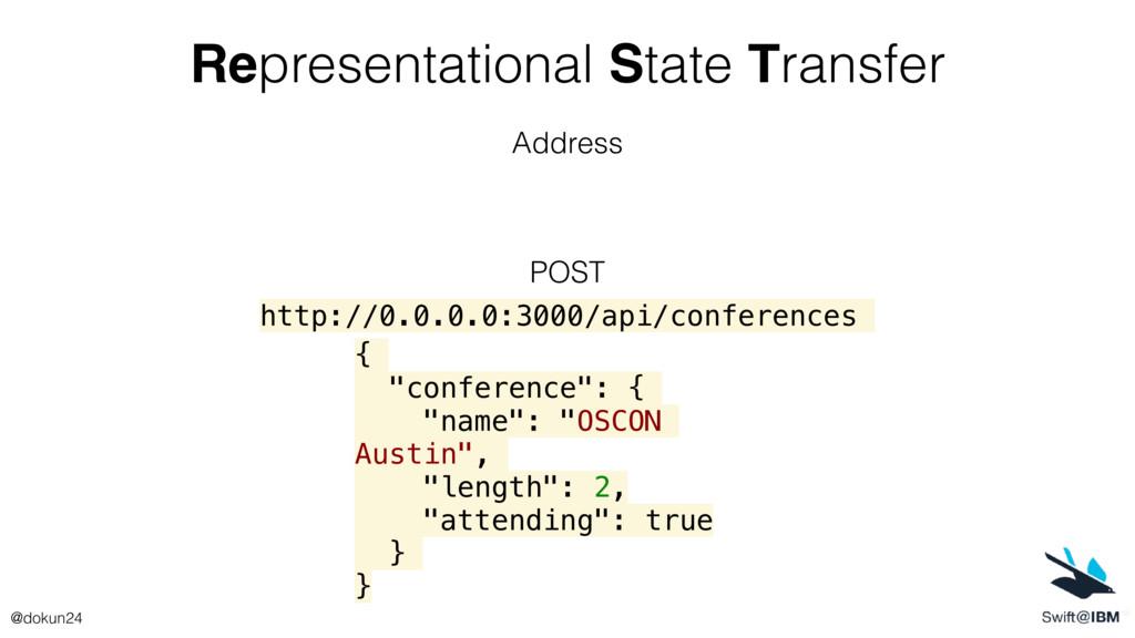 Representational State Transfer Address POST { ...