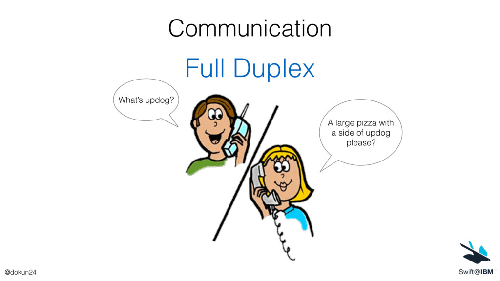Communication Full Duplex A large pizza with a ...