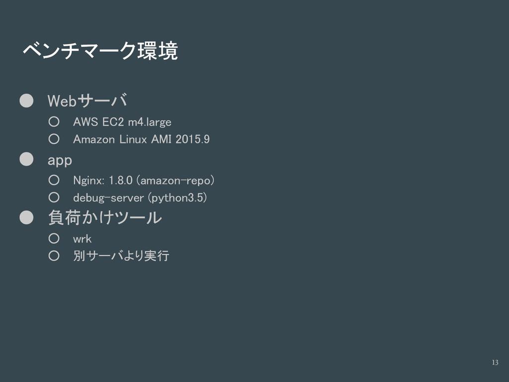 ベンチマーク環境 ● Webサーバ ○ AWS EC2 m4.large ○ Amazon L...