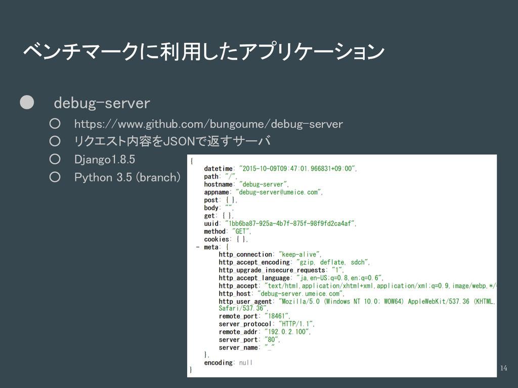 ベンチマークに利用したアプリケーション ● debug-server ○ https://ww...