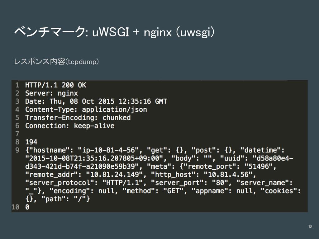 ベンチマーク: uWSGI + nginx (uwsgi) レスポンス内容(tcpdump) ...