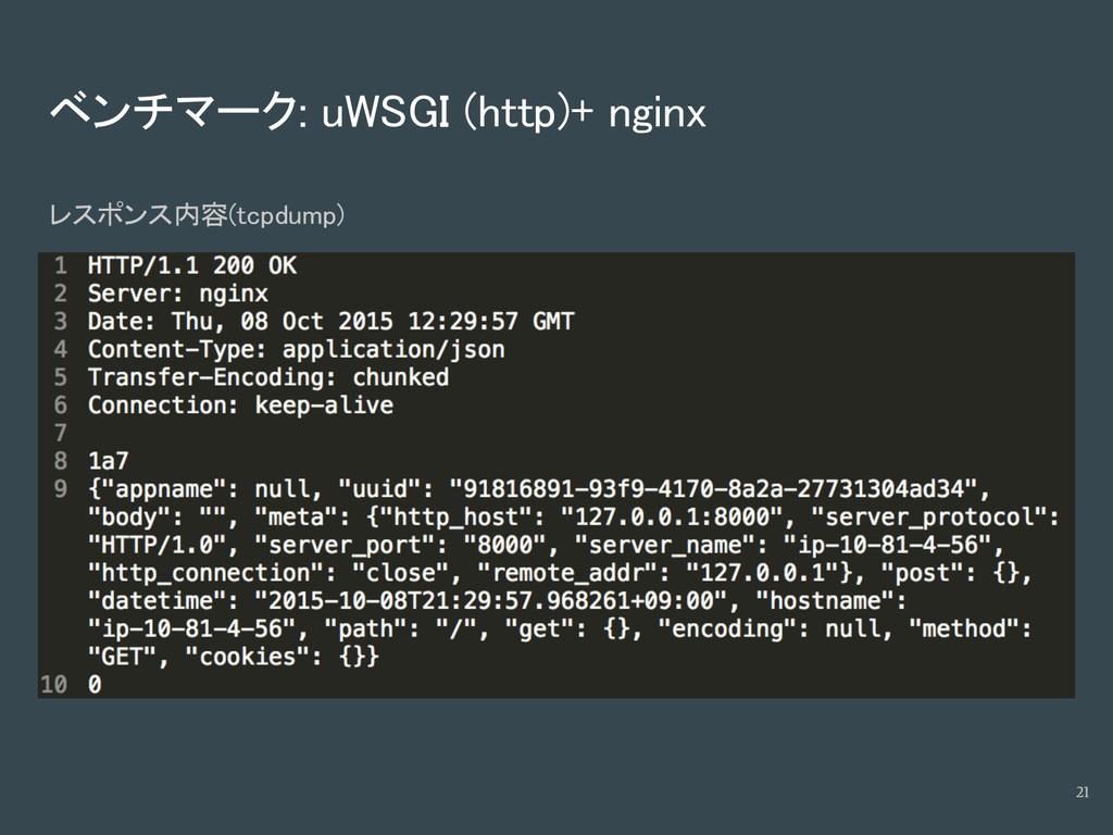 ベンチマーク: uWSGI (http)+ nginx レスポンス内容(tcpdump) 21
