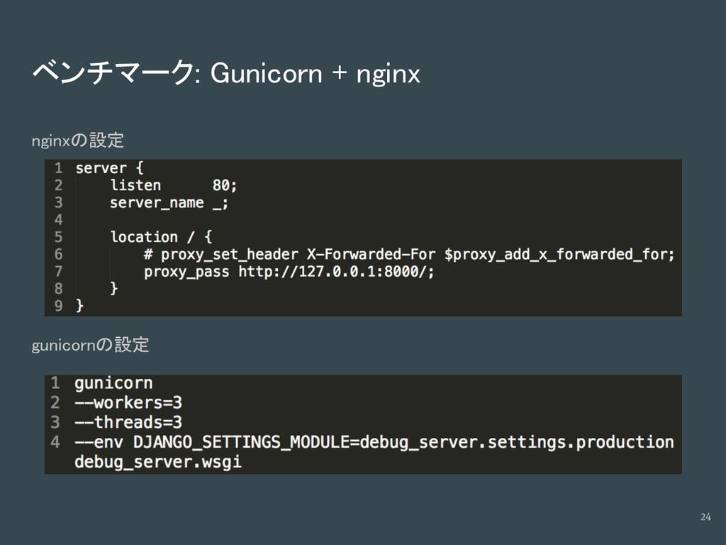 ベンチマーク: Gunicorn + nginx nginxの設定 gunicornの設定 24
