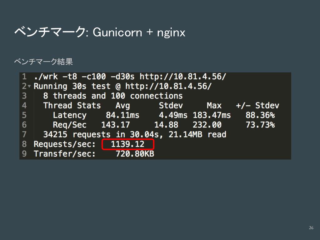 ベンチマーク: Gunicorn + nginx ベンチマーク結果 26