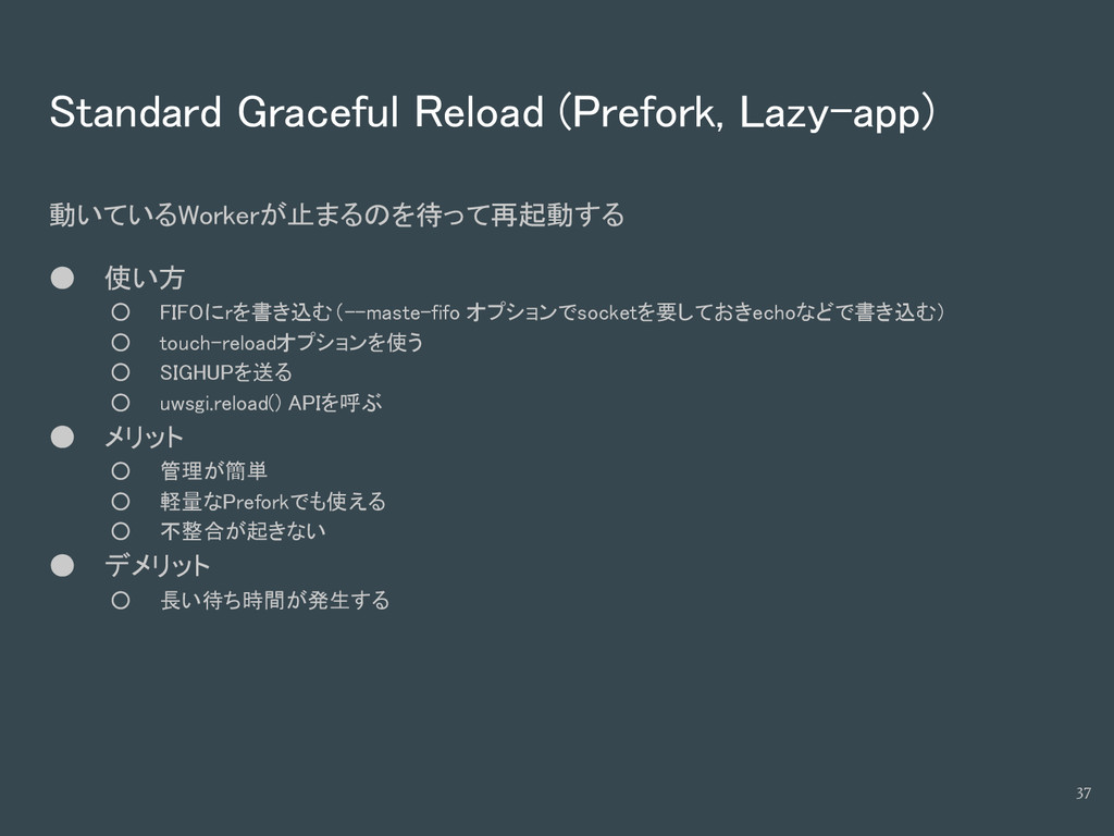 Standard Graceful Reload (Prefork, Lazy-app) 動い...
