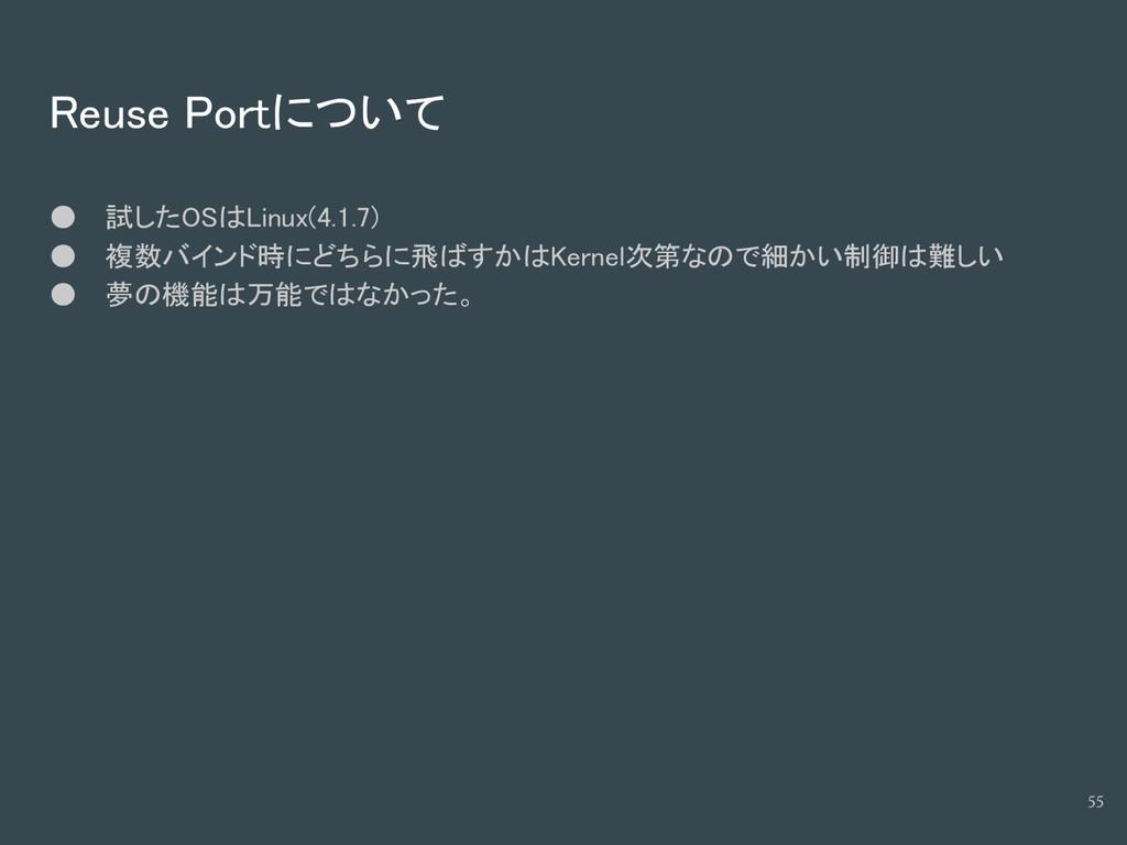 Reuse Portについて ● 試したOSはLinux(4.1.7) ● 複数バインド時にど...