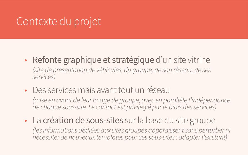 Contexte du projet • Refonte graphique et strat...