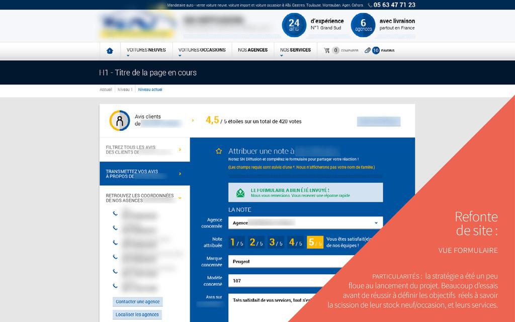 Refonte de site : vue formulaire particularités...