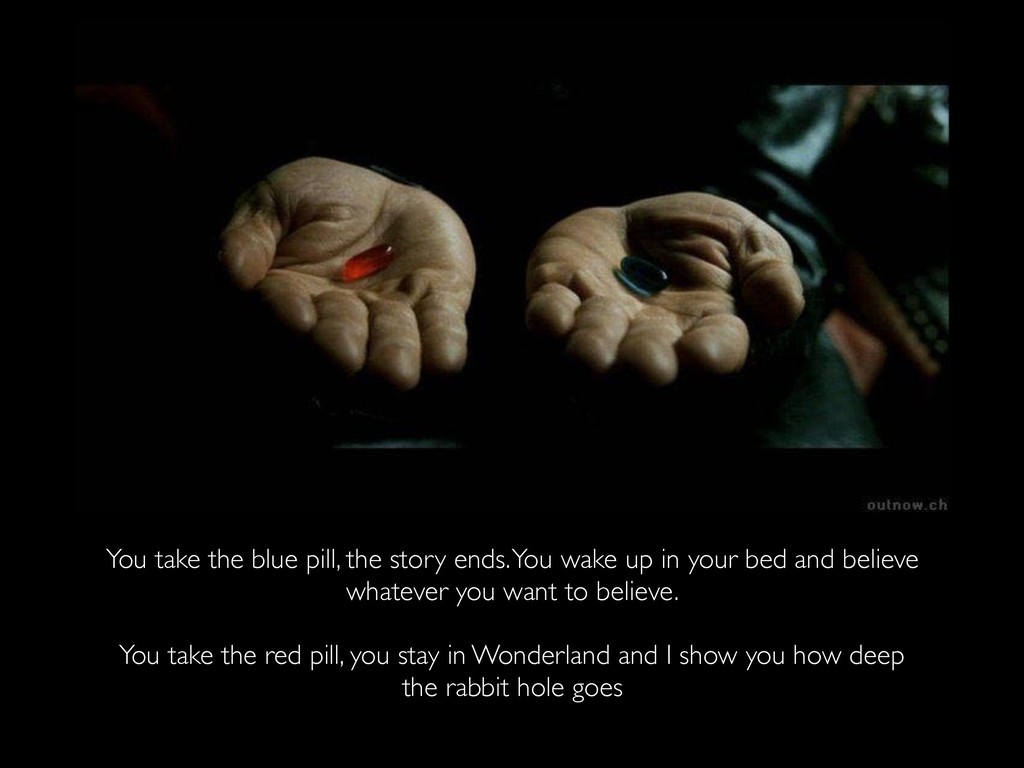 You take the blue pill, the story ends. You wak...