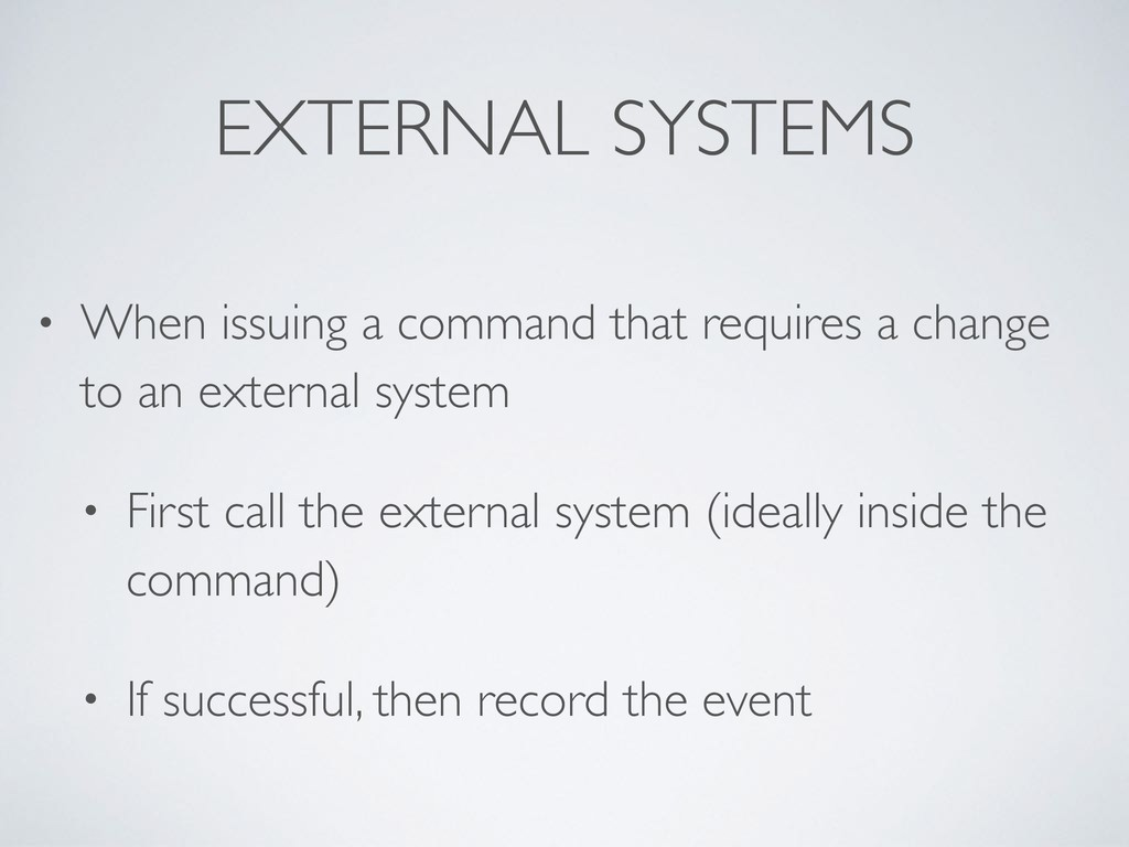 EXTERNAL SYSTEMS • When issuing a command that ...