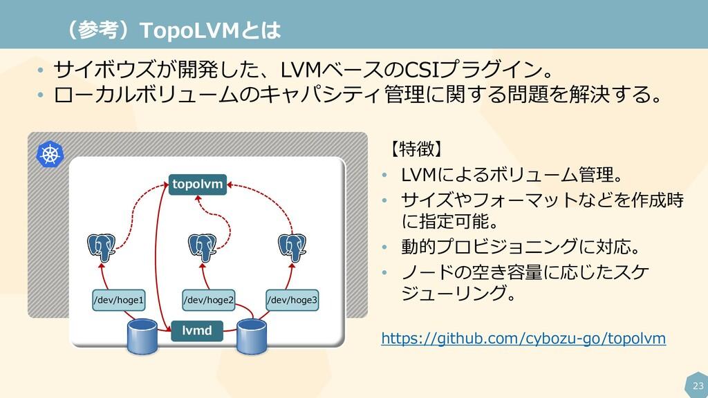 23 (参考)TopoLVMとは topolvm lvmd /dev/hoge1 /dev/h...