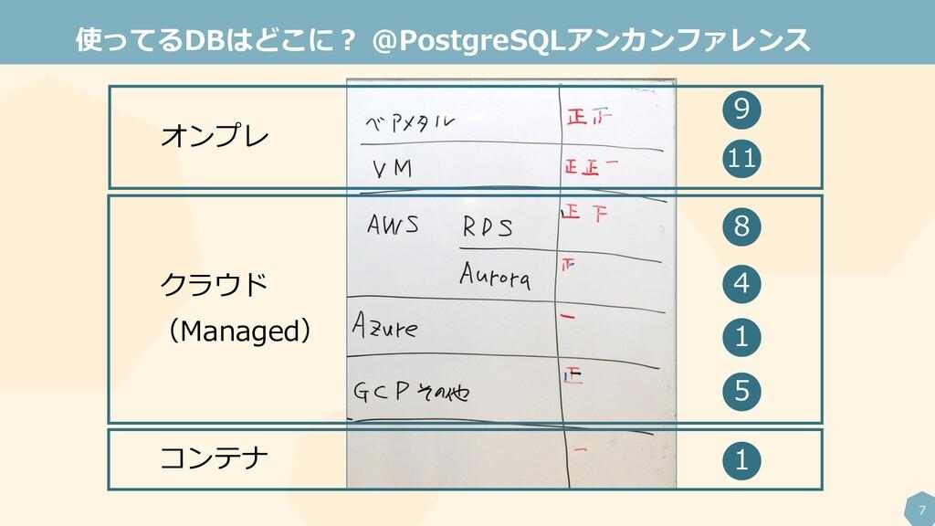 7 使ってるDBはどこに? @PostgreSQLアンカンファレンス オンプレ クラウド (M...