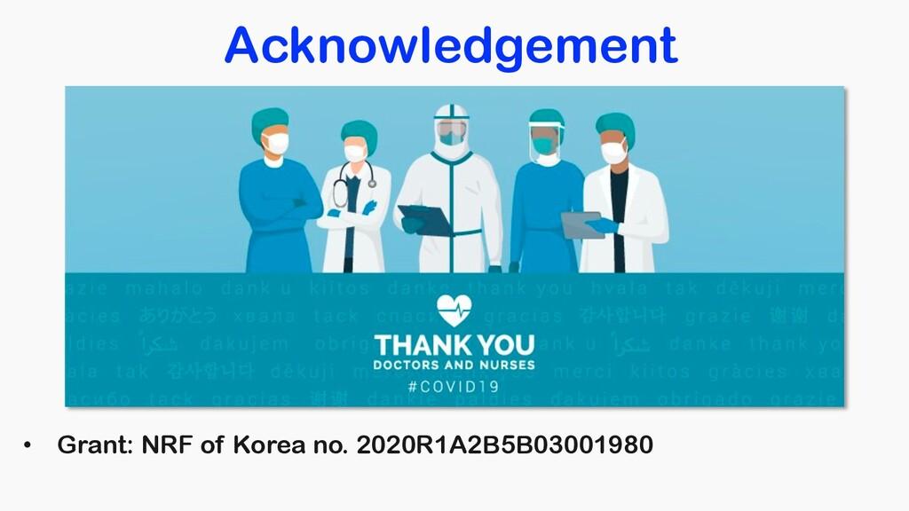 Acknowledgement • Grant: NRF of Korea no. 2020R...