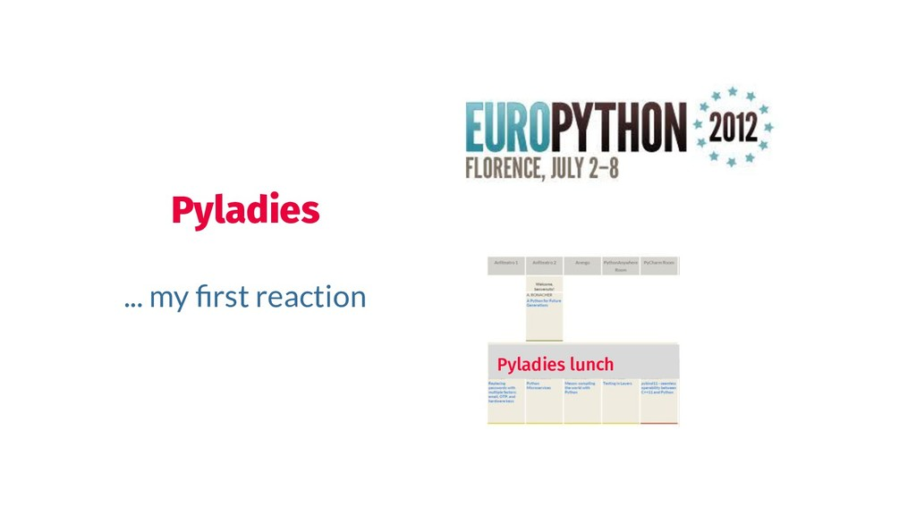 Pyladies ... my first reaction Pyladies lunch