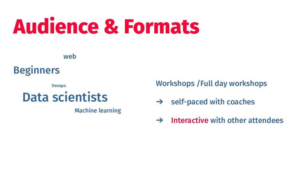 Audience & Formats Workshops /Full day workshop...