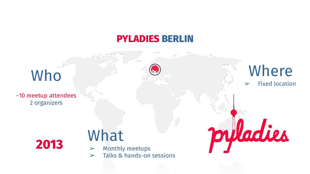PYLADIES BERLIN 2013 Who ~10 meetup attendees 2...