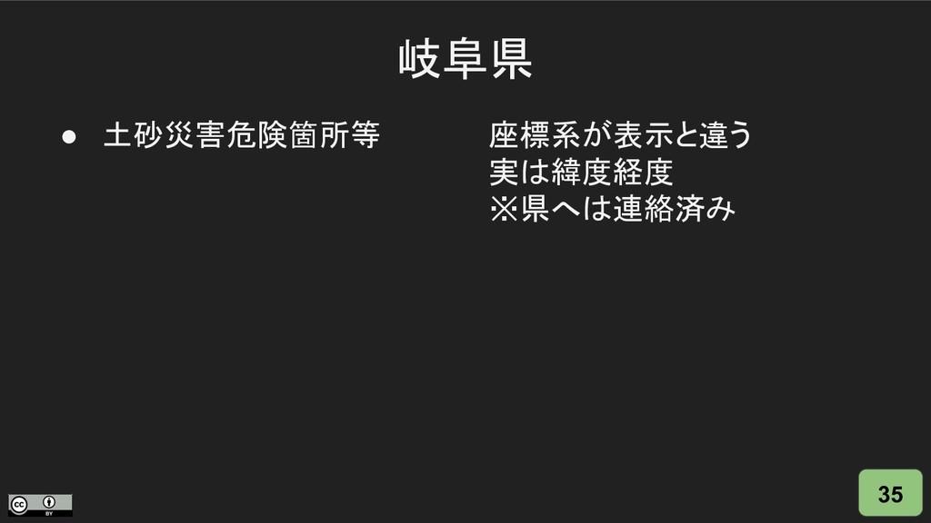 岐阜県 35 ● 土砂災害危険箇所等 座標系が表示と違う 実は緯度経度 ※県へは連絡済み