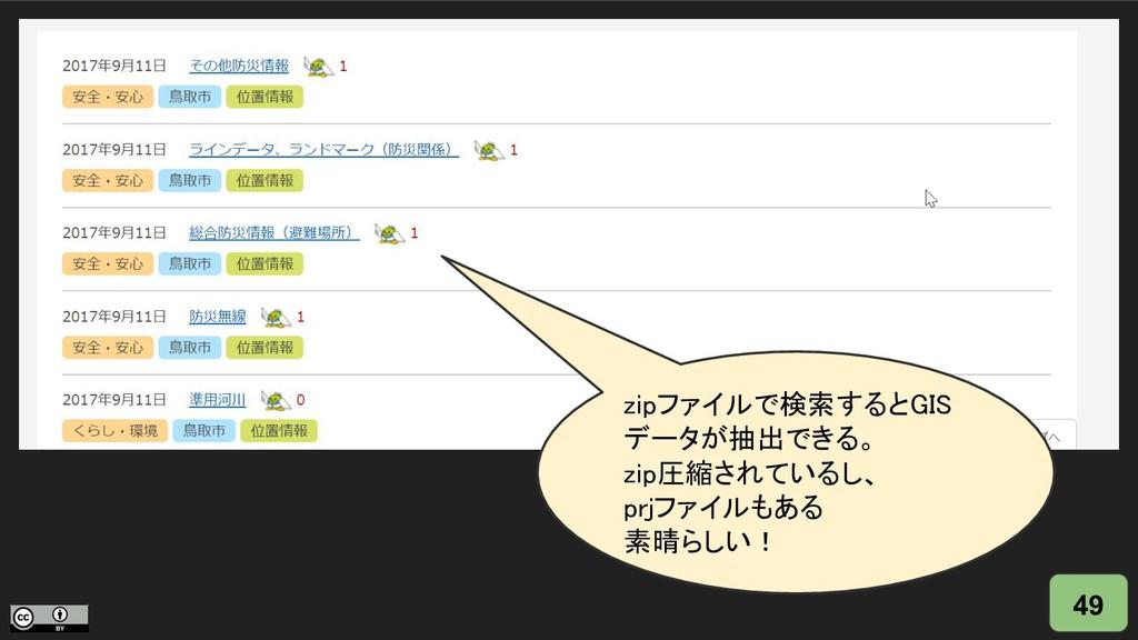 49 zipファイルで検索するとGIS データが抽出できる。 zip圧縮されているし、 prj...