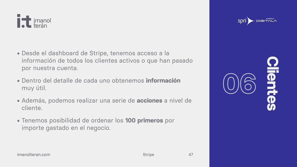 Stripe imanolteran.com • Desde el dashboard de ...
