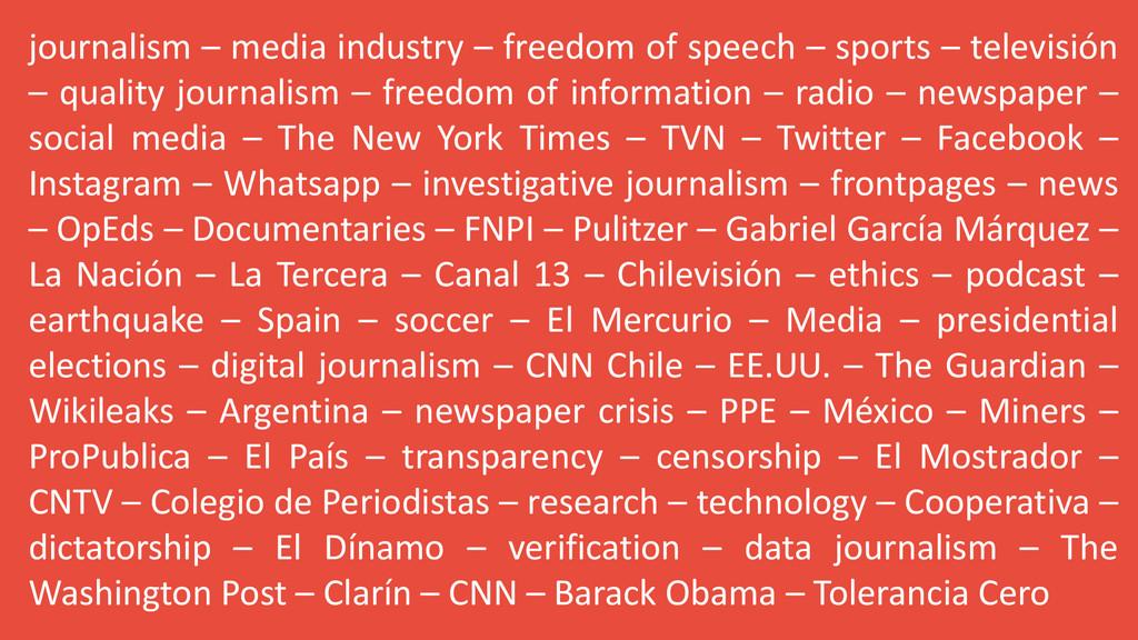 journalism – media industry – freedom of speech...