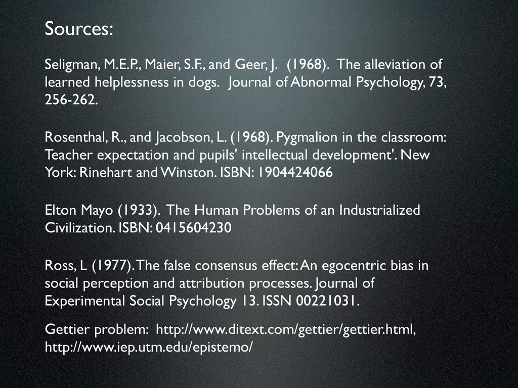 Seligman, M.E.P., Maier, S.F., and Geer, J. (19...
