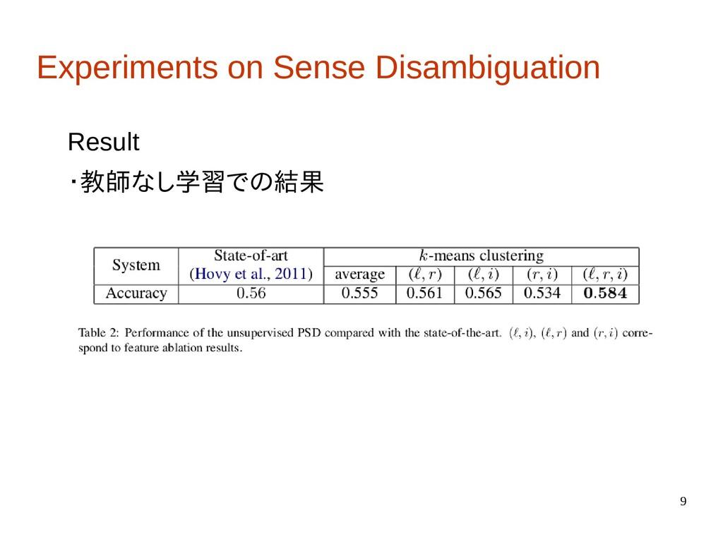 9 Experiments on Sense Disambiguation Result ・教...