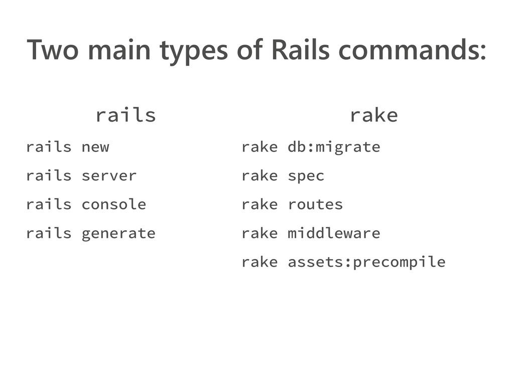 Two main types of Rails commands: rails rails n...