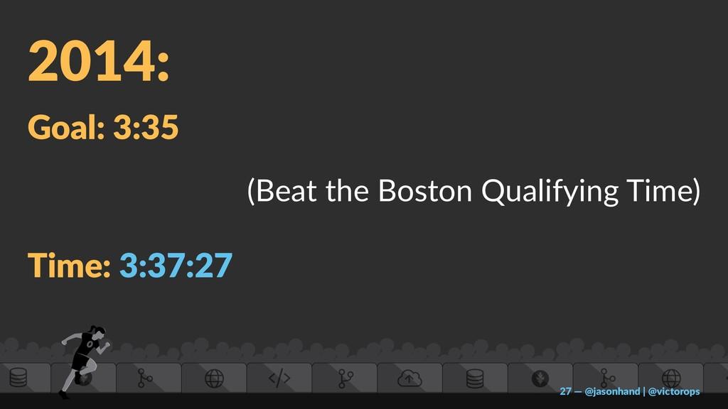 2014: Goal: 3:35 (Beat the Boston Qualifying Ti...