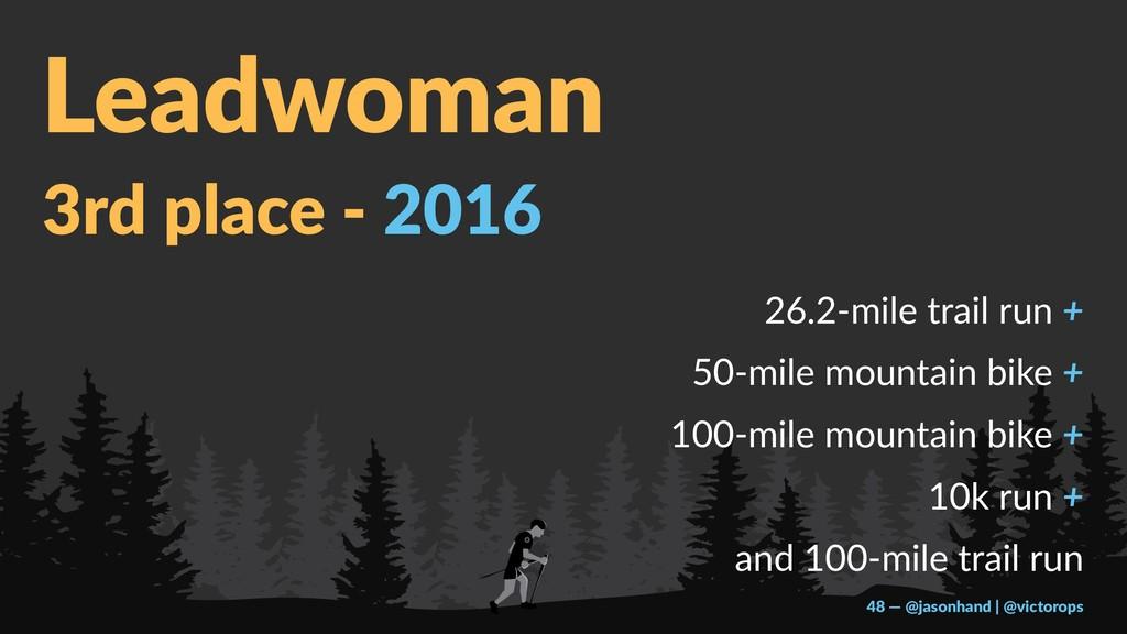Leadwoman 3rd place - 2016 26.2-mile trail run ...