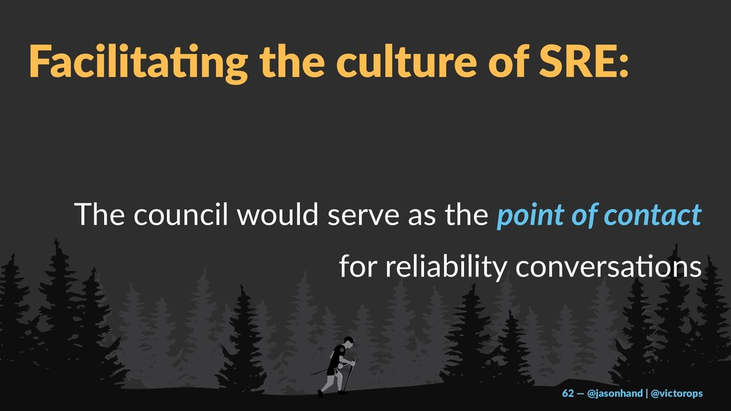 Facilita'ng the culture of SRE: The council wou...