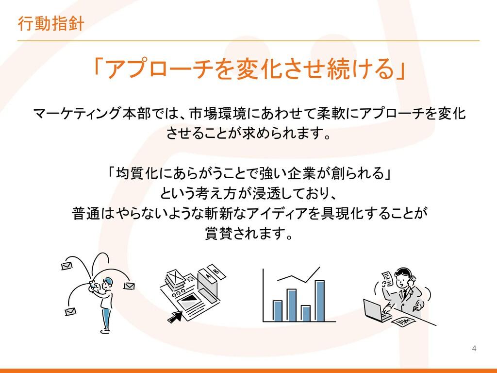 行動指針 「アプローチを変化させ続ける」 マーケティング本部では、市場環境にあわせて柔軟にアプ...