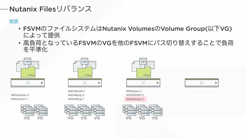 Nutanix FilesϦόϥϯε ֓ཁ • FSVMͷϑΝΠϧγεςϜNutanix V...
