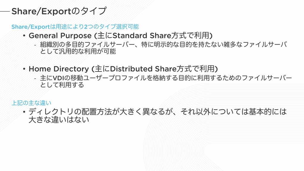 Share/ExportͷλΠϓ Share/Export༻్ʹΑΓ2ͭͷλΠϓબՄ •...